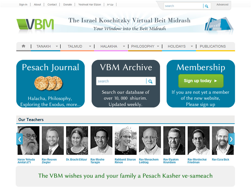 The VBM wishes you and your family a Pesach Kasher ve-sameach and invites you to visit our new website